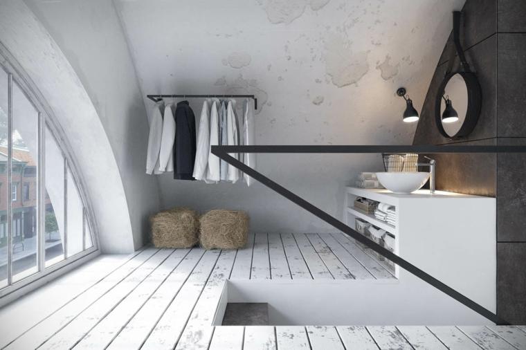 Soffitta con un bagno, mobile lavabo con scaffali, soffitto in pendenza