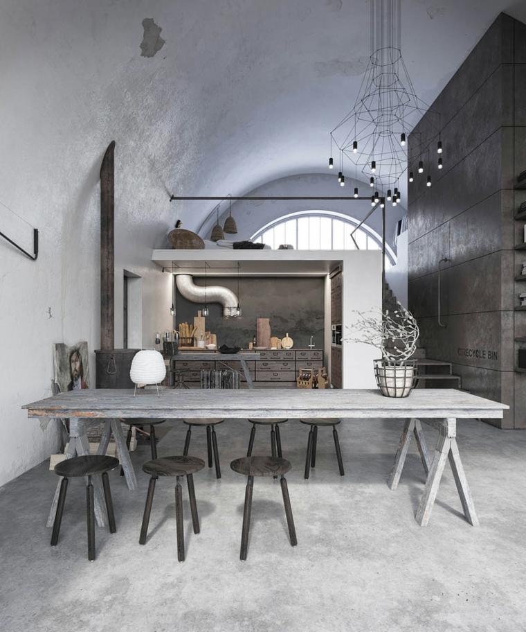 Casa stile industriale moderno, cucina con mobili di legno e tavolo da pranzo
