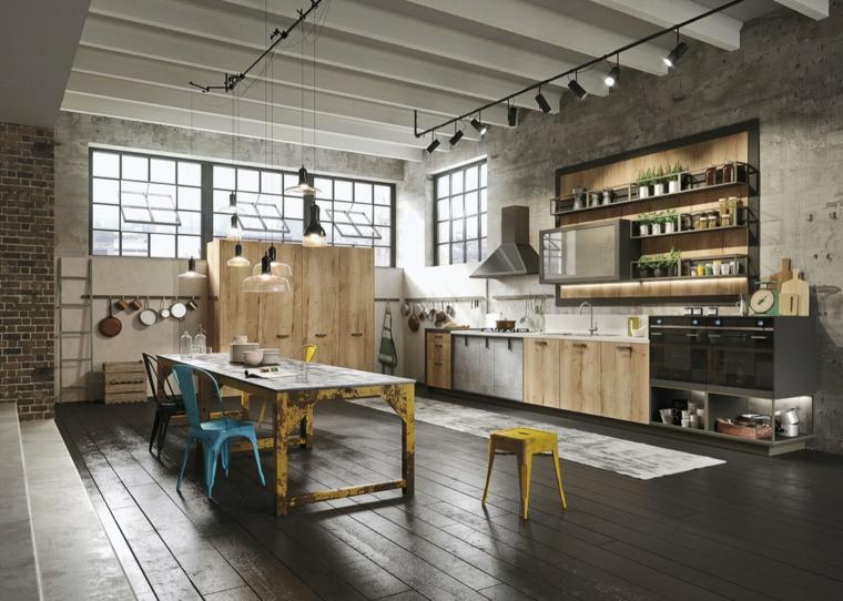 Cucina industrial chic, cucina con tavolo da pranzo in metallo di colore giallo