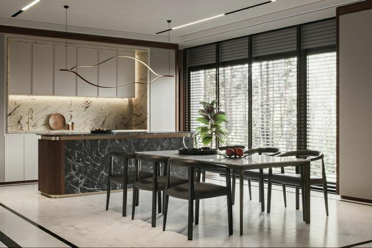 arredare cucina piccola quadrata isola centrale con rivestimento in marmo