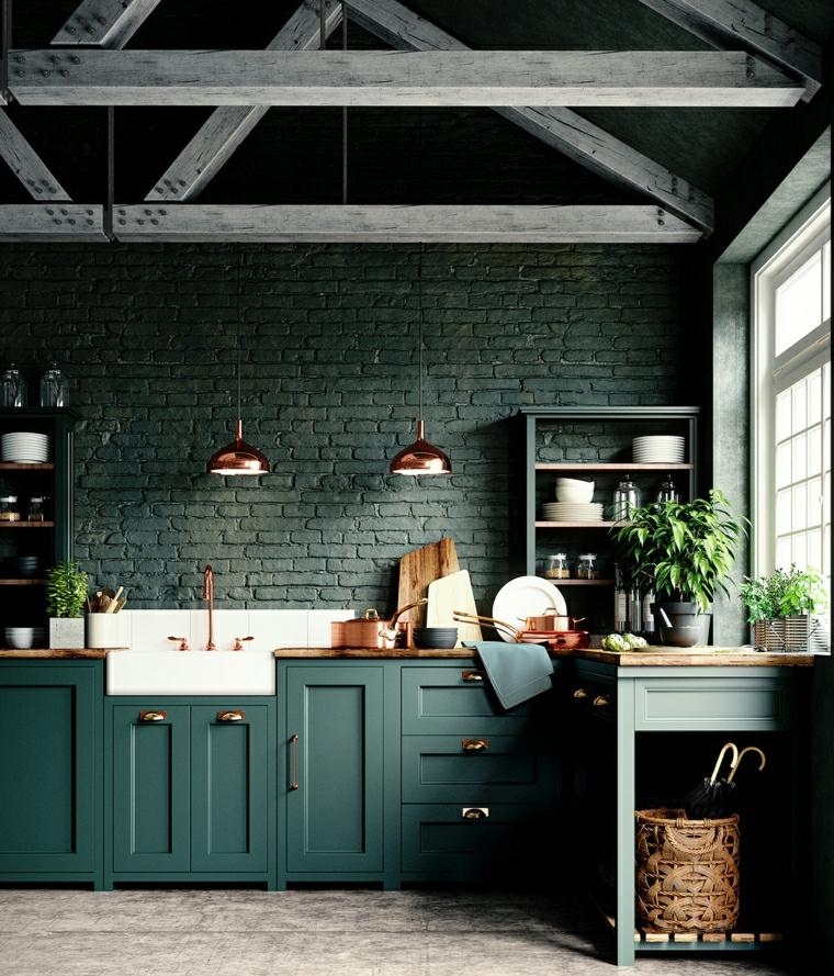 arredare open space piccolo cucina con armadietti verdi parete con mattoni