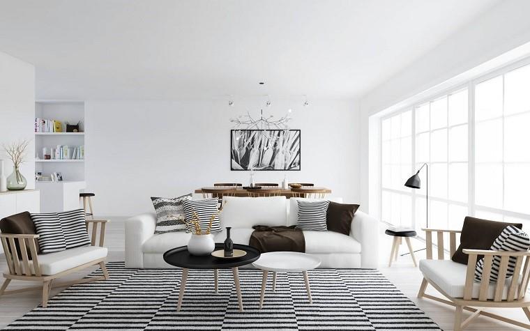 arredare-soggiorno-stile-scandinavo-tappeto-bianco-nero