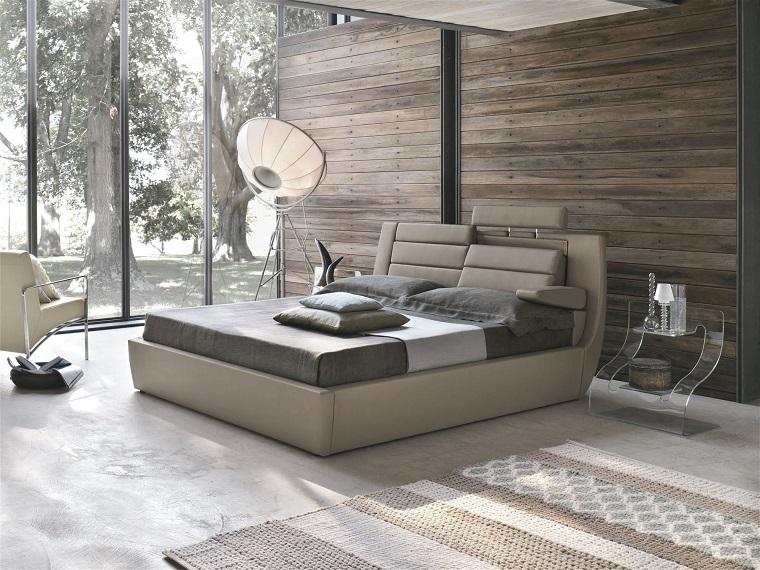 camera da letto grigia-parete-legno-riciclato