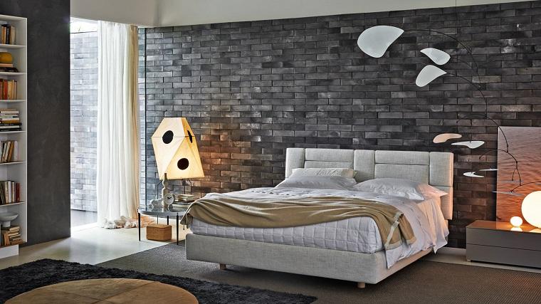 camera da letto grigia-pareti-lampade-design