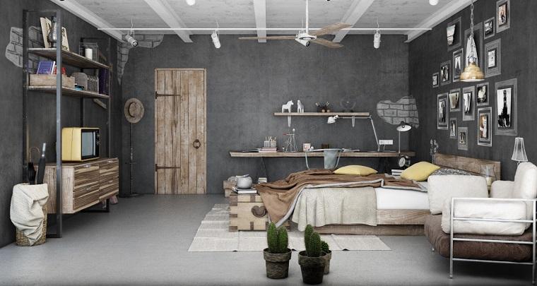 camera-da-letto-porta-legno-mensole