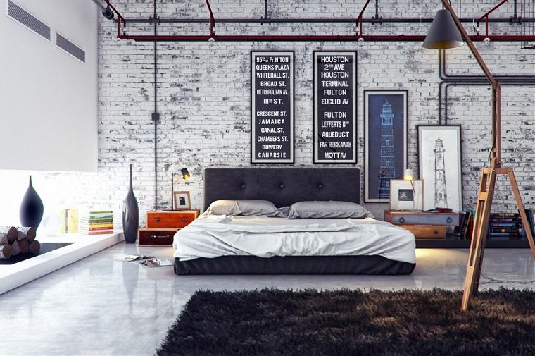 camera-da-letto-stile-industriale-parete-mattoni-vista