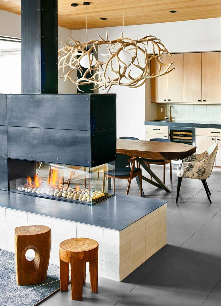 Salotto industrial, cucina con mobili in legno, soggiorno con camino elettrico