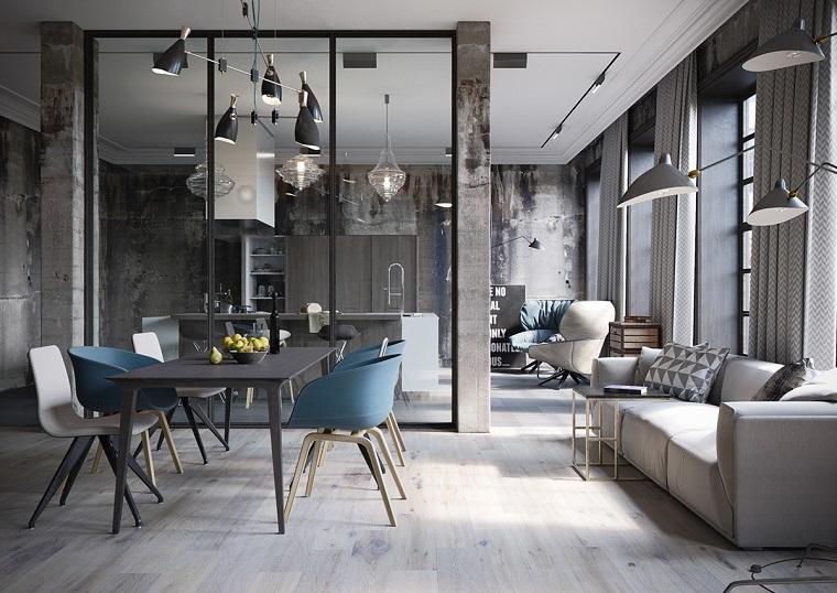 Arredamento industriale, open space con sala da pranzo e soggiorno insieme