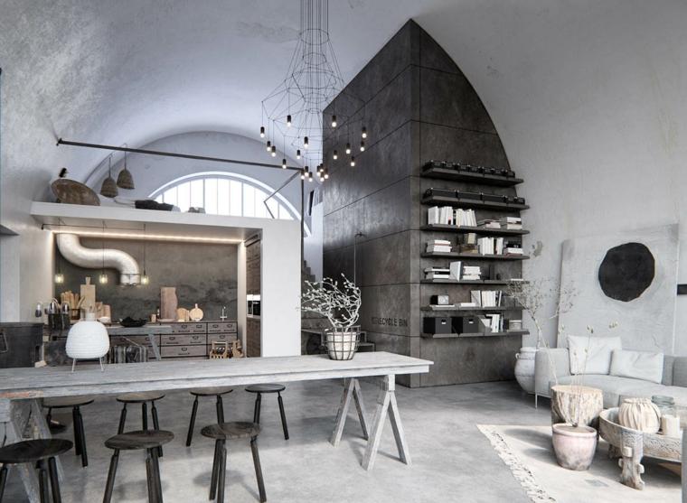 Arredamento moderno e arte povera insieme, open space con mobili in legno