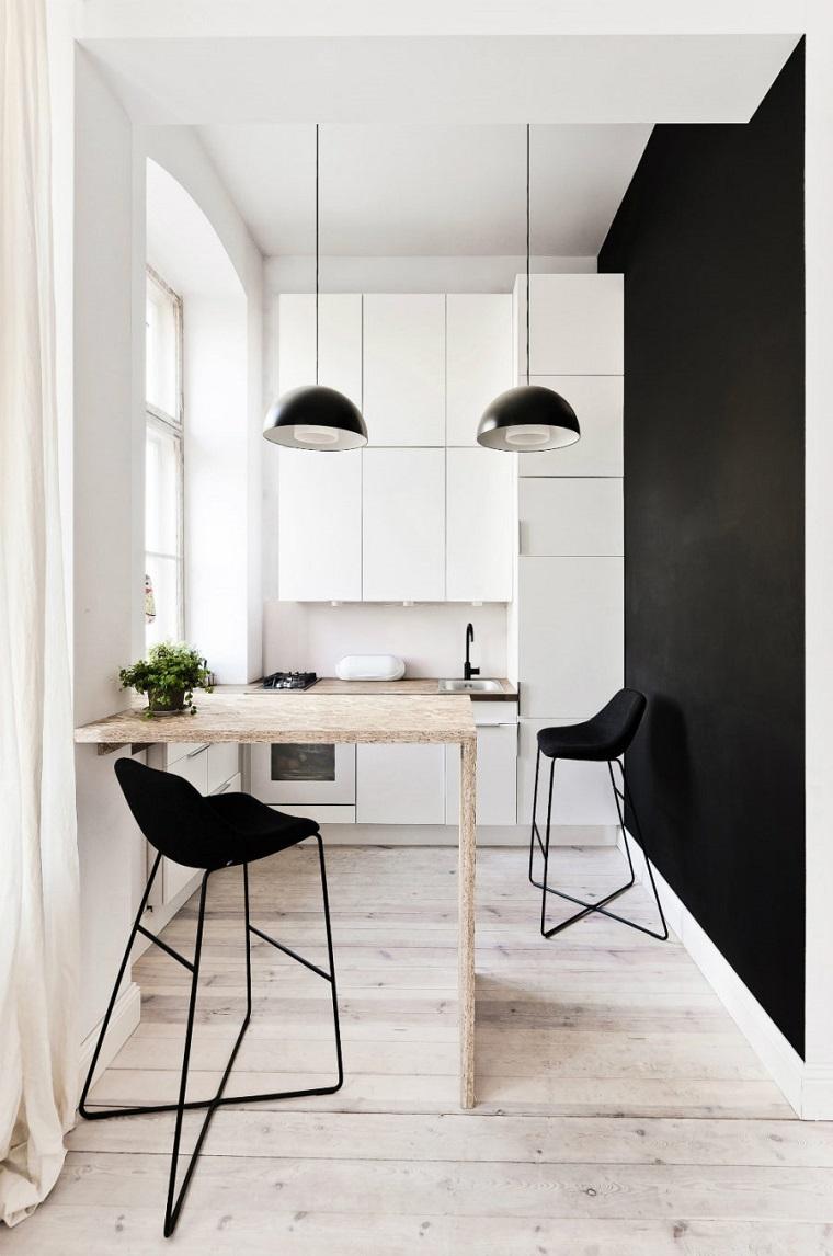 come arredare casa-cucina-piccola-tonalita-colore-nero