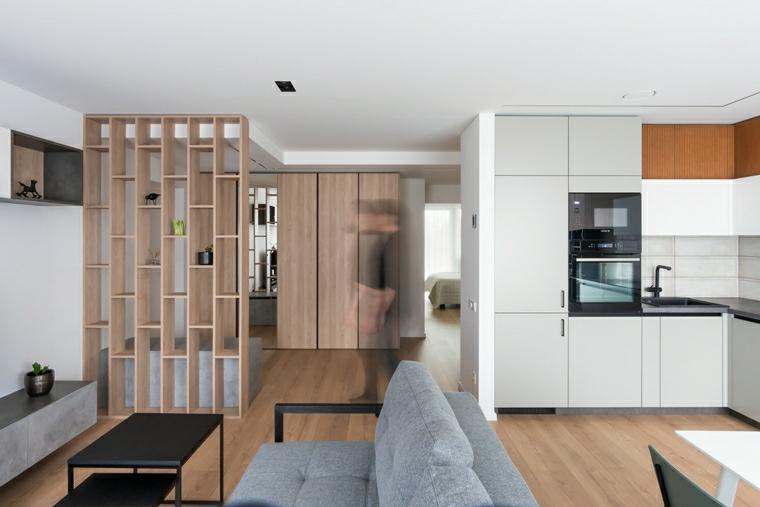 come arredare sala e salotto insieme cucina ad angolo parete divisoria con mensole di legno