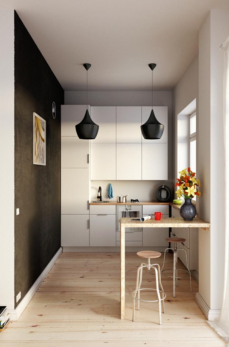 come arredare una cucina piccola parete dipinta di marrone illuminazione con due lampade