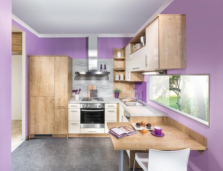 Cucina angolare una configurazione adatta a quasi tutti - Colore pareti cucina legno ...