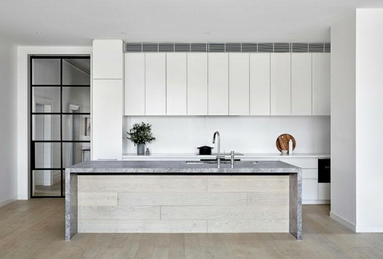 cucina con isola centrale pavimento in legno parquet porta di vetro