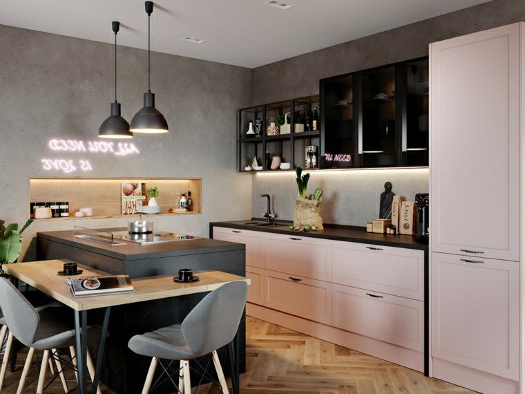cucina e sala da pranzo insieme mobili cucina rosa e nero parete dipinta di grigio