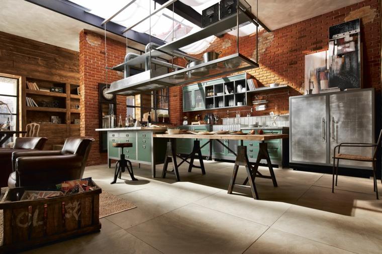Cucina stile industriale fai da te, mobili cucina in acciaio inox, tavolo da pranzo in legno