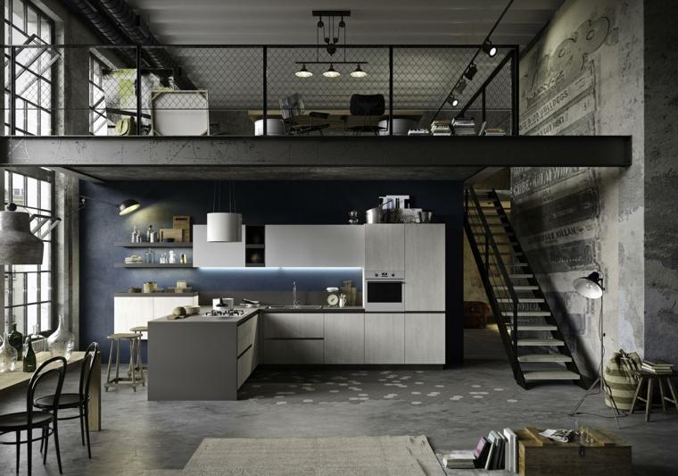 Cucina stile industriale fai da te, loft con soppalco e scale interne, cucina con isola laterale