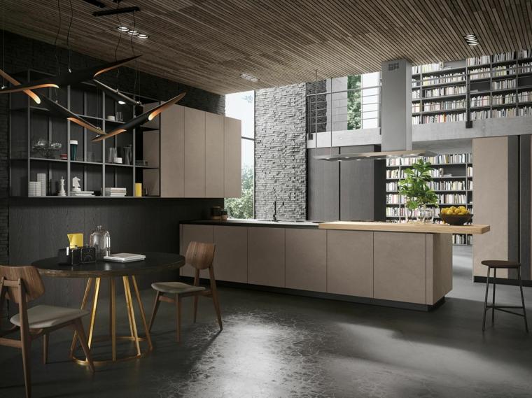 Cucina stile industriale fai da te, cucina con tavolo da pranzo, pareti dipinti di colore nero