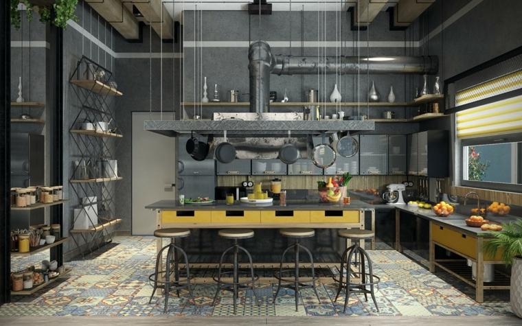 Cucina industrial chic, cucina con isola centrale e sgabelli, parete dipinta di grigio con mensole