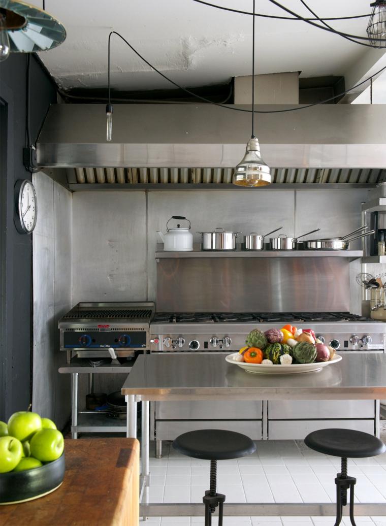 Cucina industrial chic, cucina con mobili in acciaio inox, lampada con fili neri