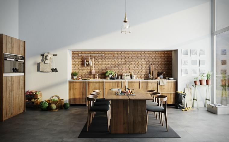 Paraschizzi cucina con mattoni a vista, arredamento industriale, open space sala da pranzo e cucina