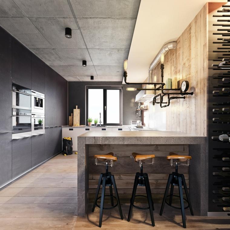Cucina con isola laterale con sgabelli, arredamento moderno e arte povera insieme