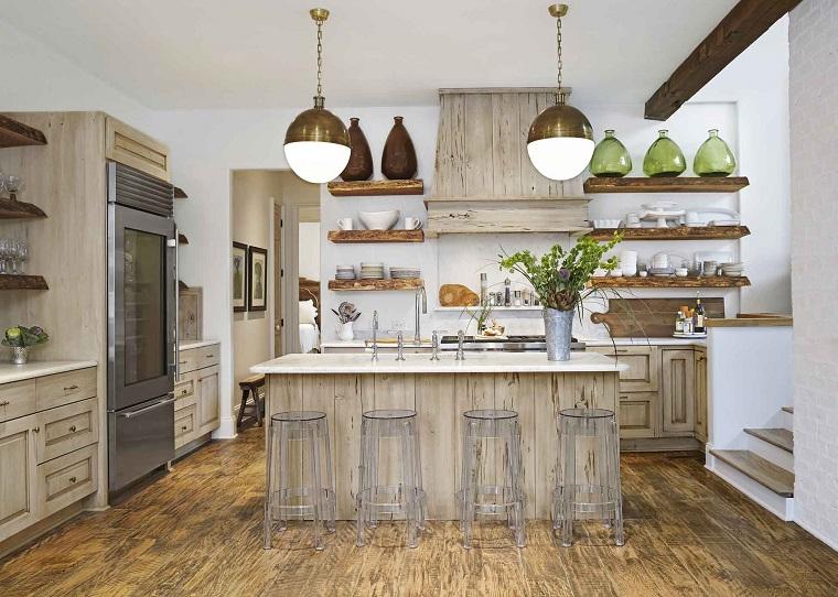 Cucina con isola centrale spazio e funzionalit per chef e non solo - Cucine legno grezzo ...