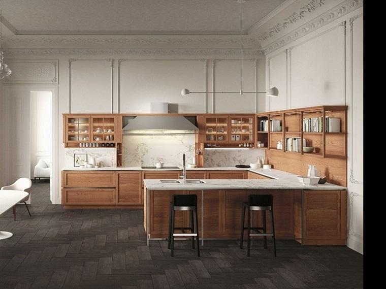 Cucine con penisola belle funzionali e soprattutto di design - Cucine legno e acciaio ...