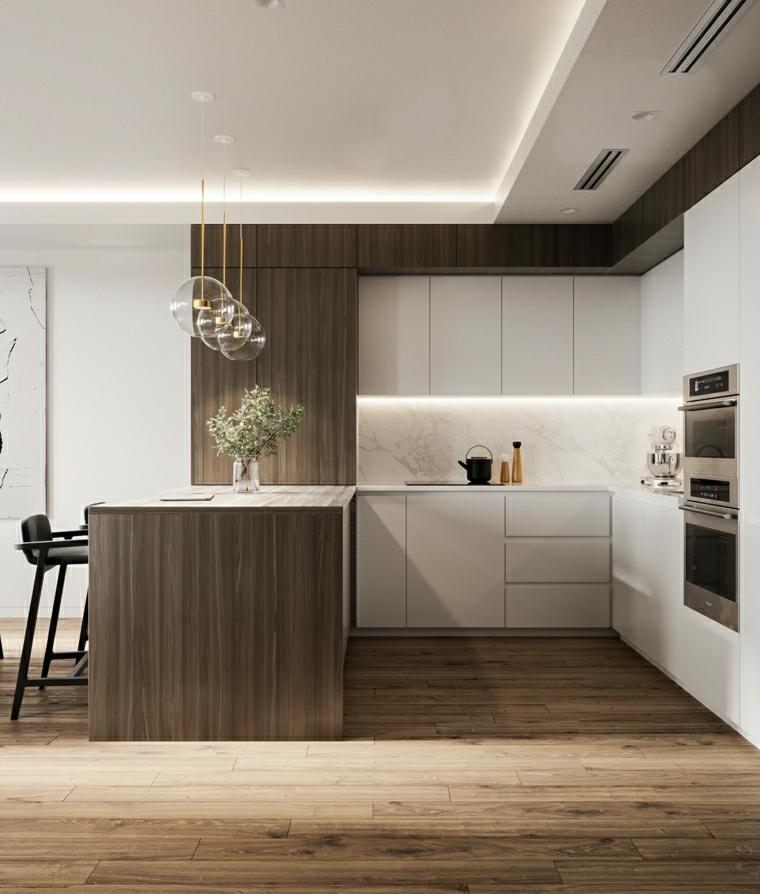 cucine piccole ad angolo pavimento in legno parquet isola come tavolo da pranzo