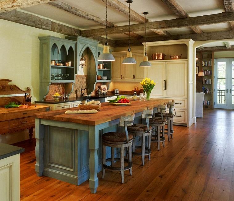 cucine rustiche-combinazione-colori-diversi