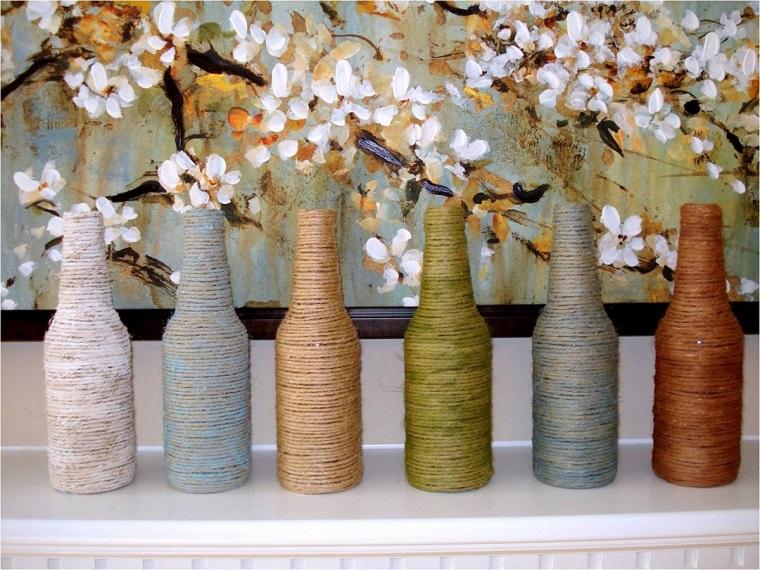 decorare la casa-bottiglie-fiori