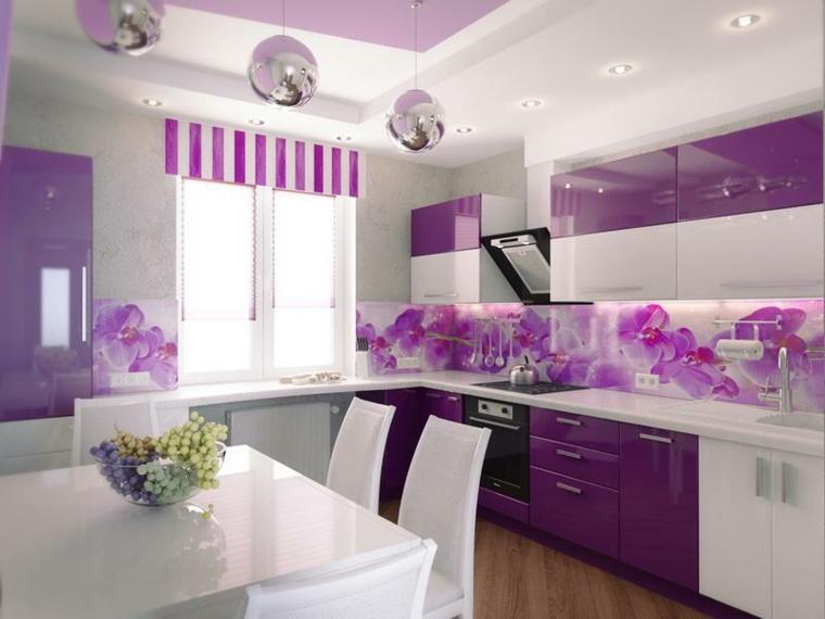 decorare la casa-cucina-colore-viola
