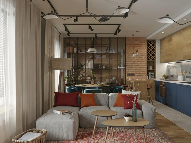 dividere soggiorno e cucina pavimento con tappeto salotto con divano grigio