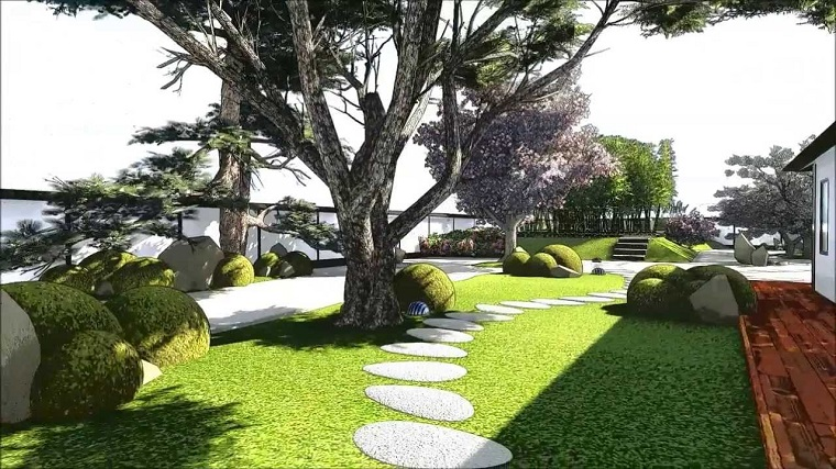 giardino moderno-albero-secolare-vialetto