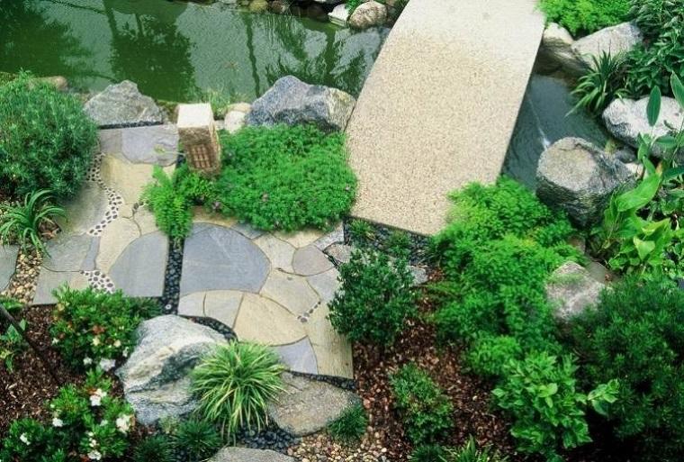 giardino roccioso-laghetto-piante-verdi