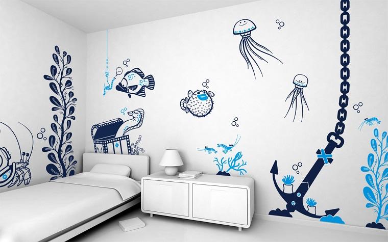 idee creative da realizzare-disegni-parete-cameretta