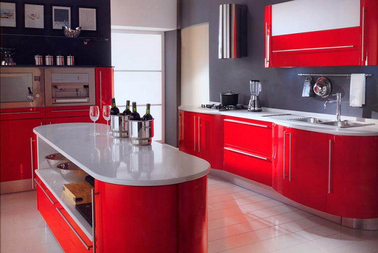 idee fai da te-cucina-design-moderno-colore-rosso
