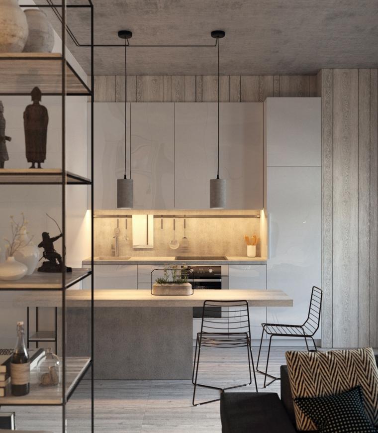 idee per dividere cucina e soggiorno isola con top di legno e scagelli