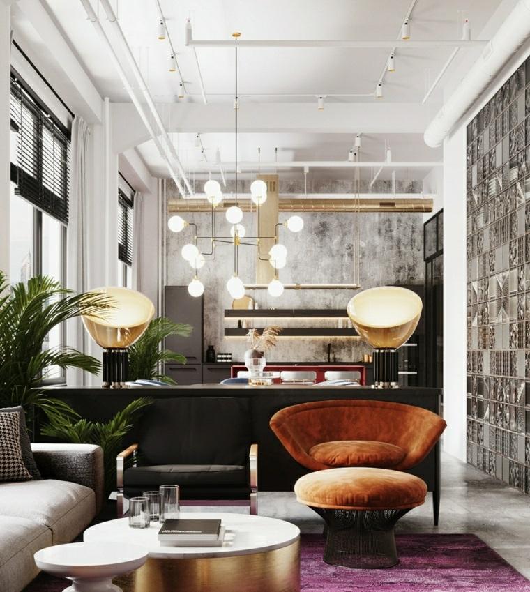 idee per dividere cucina e soggiorno parete con pannelli di marmo divano con tavolino basso