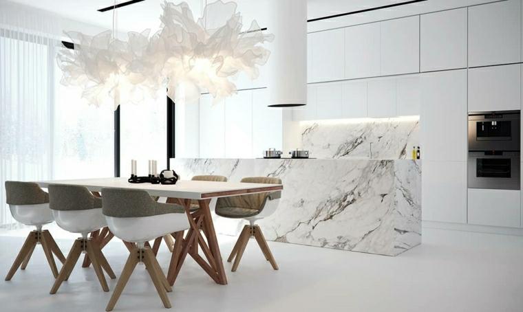 immagini cucine moderne isola centrale con rivestimento in marmo tavolo da pranzo