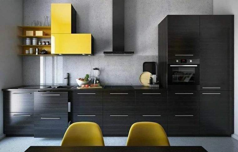 immagini cucine moderne mobili di colore grigio e giallo tavolo da pranzo con due sedie