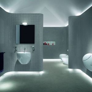 1001 idee per il bagno senza piastrelle molto creative - Lampadari x bagno ...