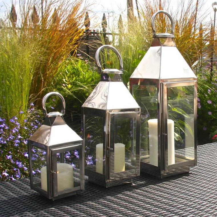 Lanterne da esterno come illuminare il giardino con originalit - Candele per esterno ...