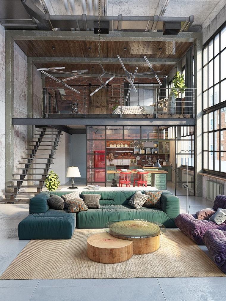 Arredamento moderno e arte povera insieme, loft con soppalco, open space cucina e soggiorno