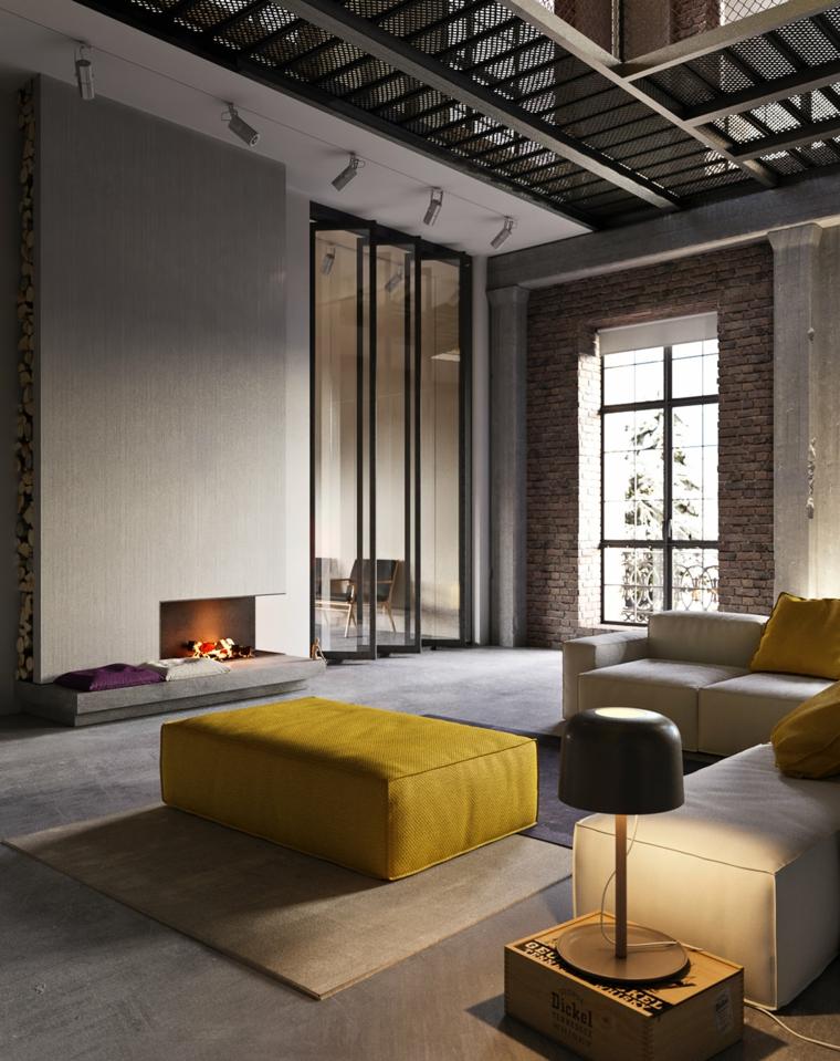 Loft con soppalco, parete con camino in soggiorno, arredamento moderno e arte povera insieme