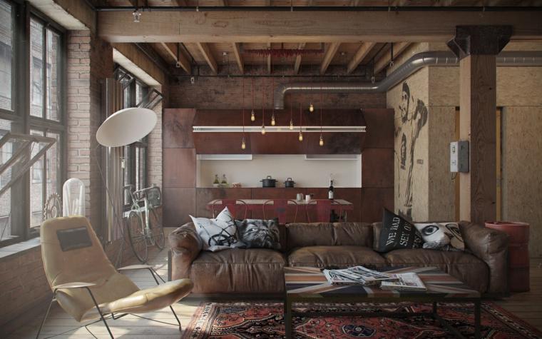 Arredamento moderno e arte povera insieme, soggiorno con divano in pelle