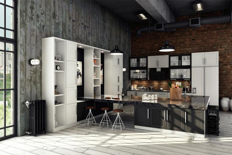 Casa stile industriale moderno, cucina con isola laterale, pavimento in piastrelle bianche