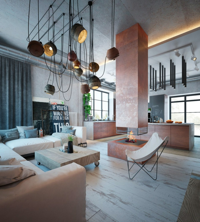 Mobili industriali vintage, open space cucina e soggiorno, divano angolare con tavolino basso di legno
