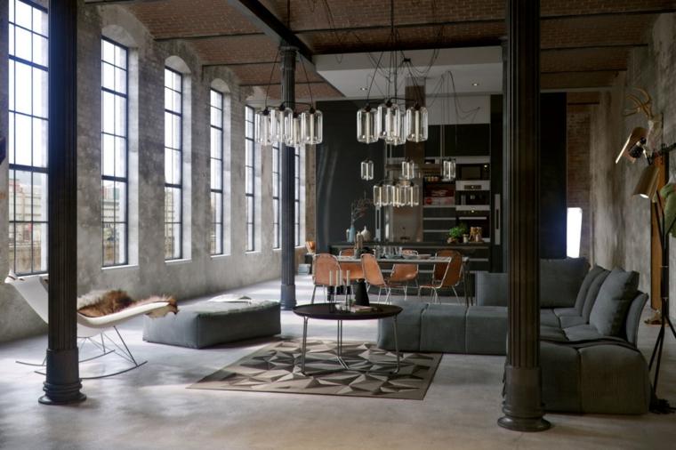 Mobili stile industriale, soggiorno con divano angolare e tavolino, open space cucina e soggiorno insieme