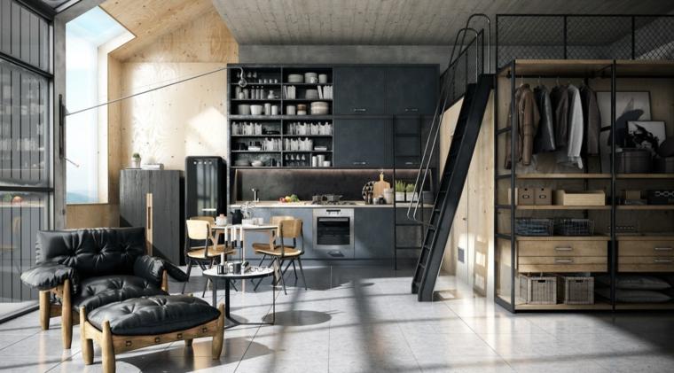 Loft monolocale con soppalco, casa stile industriale moderno, pavimento in gres porcellanato